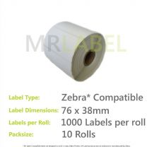 10000x Zebra Compatible Thermal Labels (10 Rolls of 1000) 76x38mm